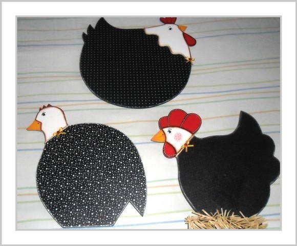 quadro decorativo con galinhas