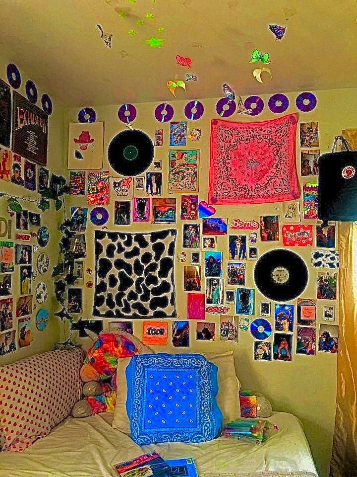 indie bedroom inspo inspiration cow print bandana posters ...
