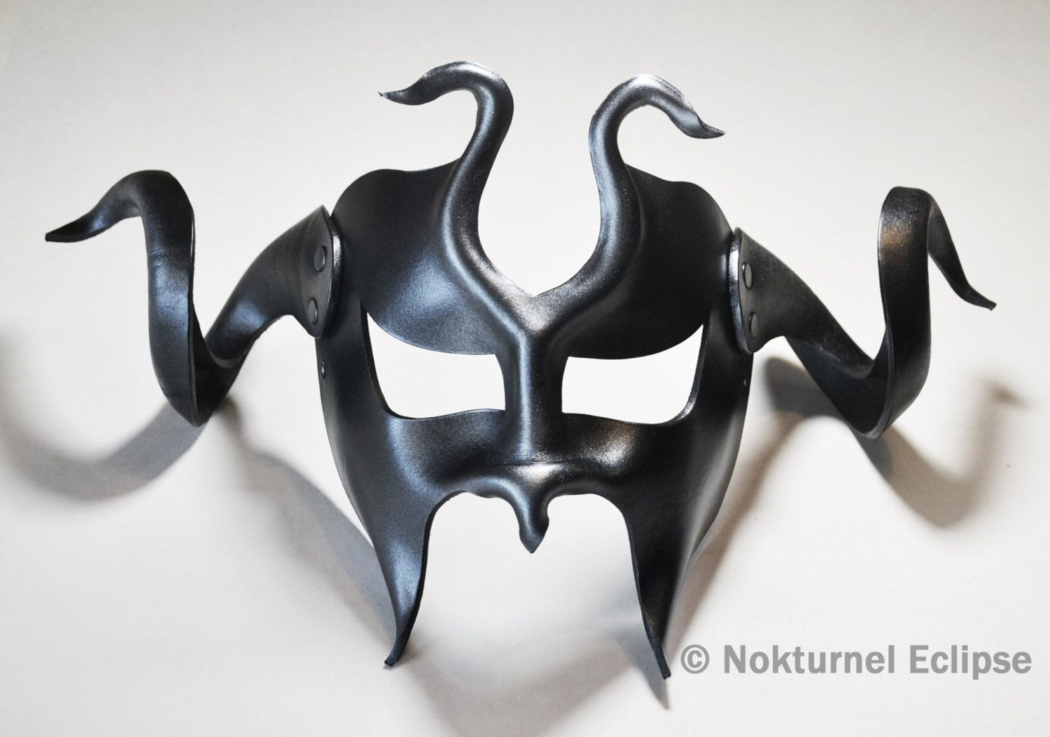 Masquerade Black & Silver Leather Mask with HUGE Horns Cosplay ...