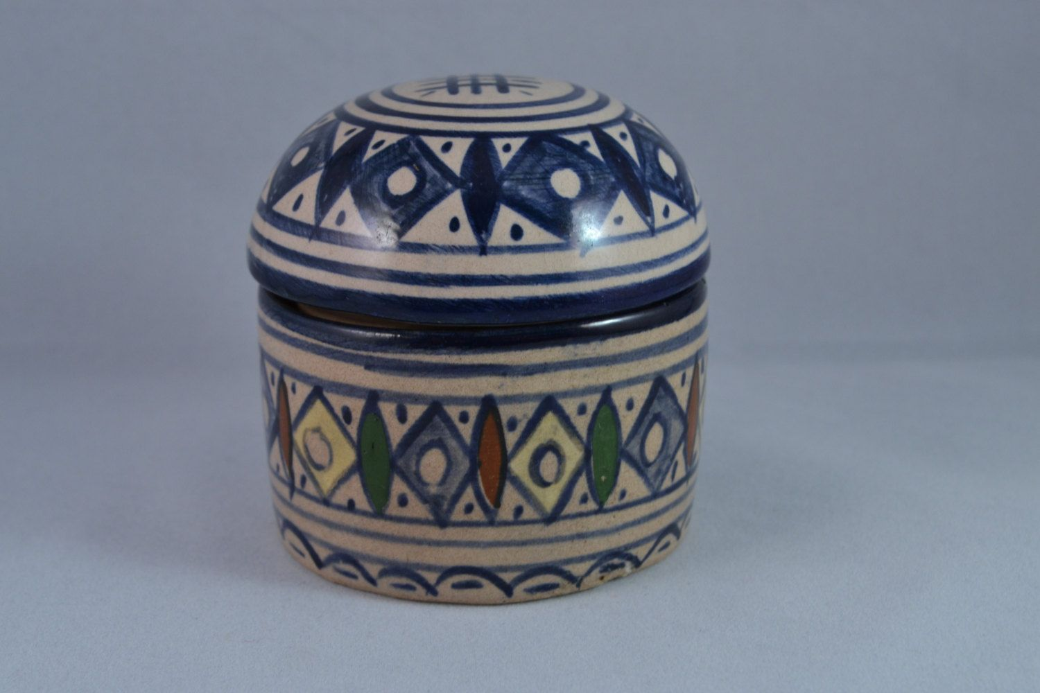 Vintage Signed Moroccan Art Pottery Hand Painted Glazed Lidded
