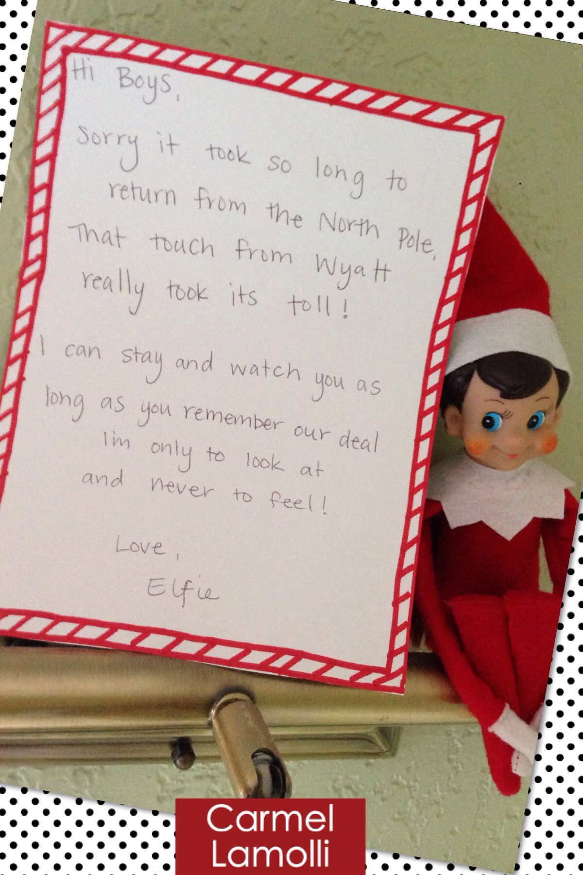 The letter i wrote when our elf on the shelf returned after being the letter i wrote when our elf on the shelf returned after being touched spiritdancerdesigns Choice Image