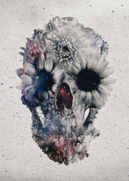 Poster | FLORAL SKULL 2 von Ali Gulec #tattooskullflowers