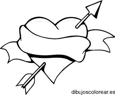 Dibujo De Un Corazon Y Una Flecha Con Una Franja Dibujos Para Dibujos Faciles De Amor Corazon Para Colorear Dibujos De Corazones