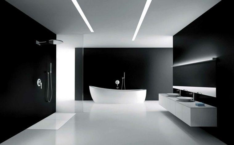 Salle De Bains Design Noir Blanc Baignoire Idée Cabine De Douche Italienne  Ouverte Moderne Luminaire