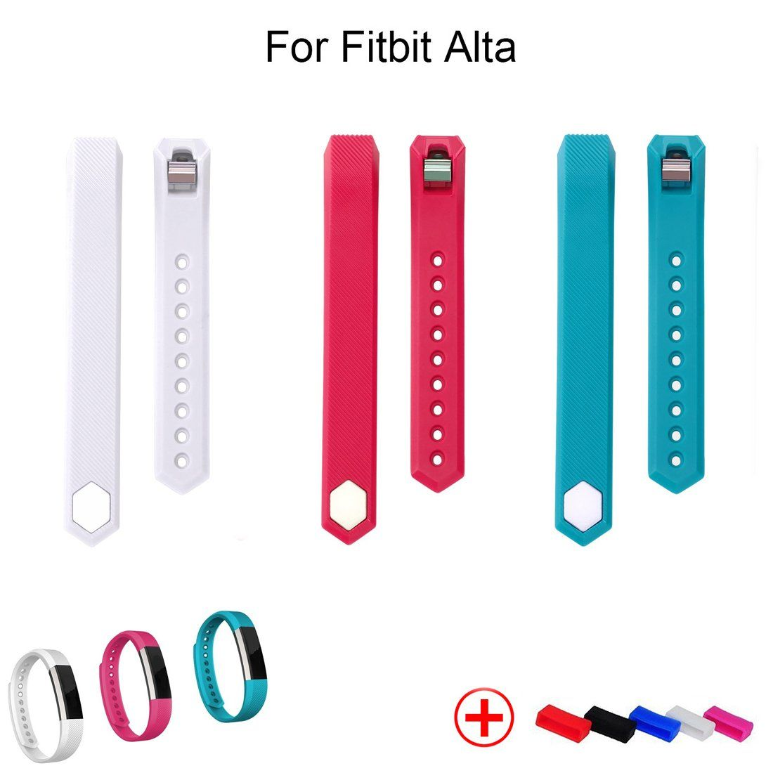 Geak Fitbit Alta Classic Accessory Replacement Bands with Metal Clasp and Fasteners Ring - Large - White Rose and Lake Blue, Pack of 3. Size Chart: Large Size 6.7-8.1 Inches wrist, Small Size 5.5-6.7 Inchs wrist. Classic colors to change your look in an instant. Comfortable, durable materials make these bands your go-to accessory through exercise, sweat, sleep and beyond. Personalized design for Fibbit Alta, good replace of your original Fitbit Alta Band. NOTE:No Tracker or other...