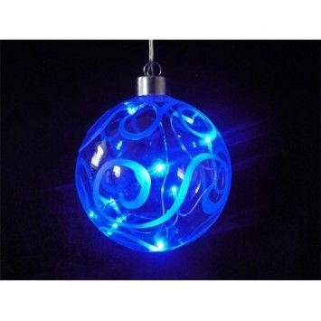 Bola de cristal decorativa con luz led. Color azul. Especial para iluminación navideña. 8 luces led en el interior. Longitud de cable 5 metros. Diámetro: 10 cm.