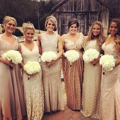 Silver Wedding Dress Champagne Bridesmaids