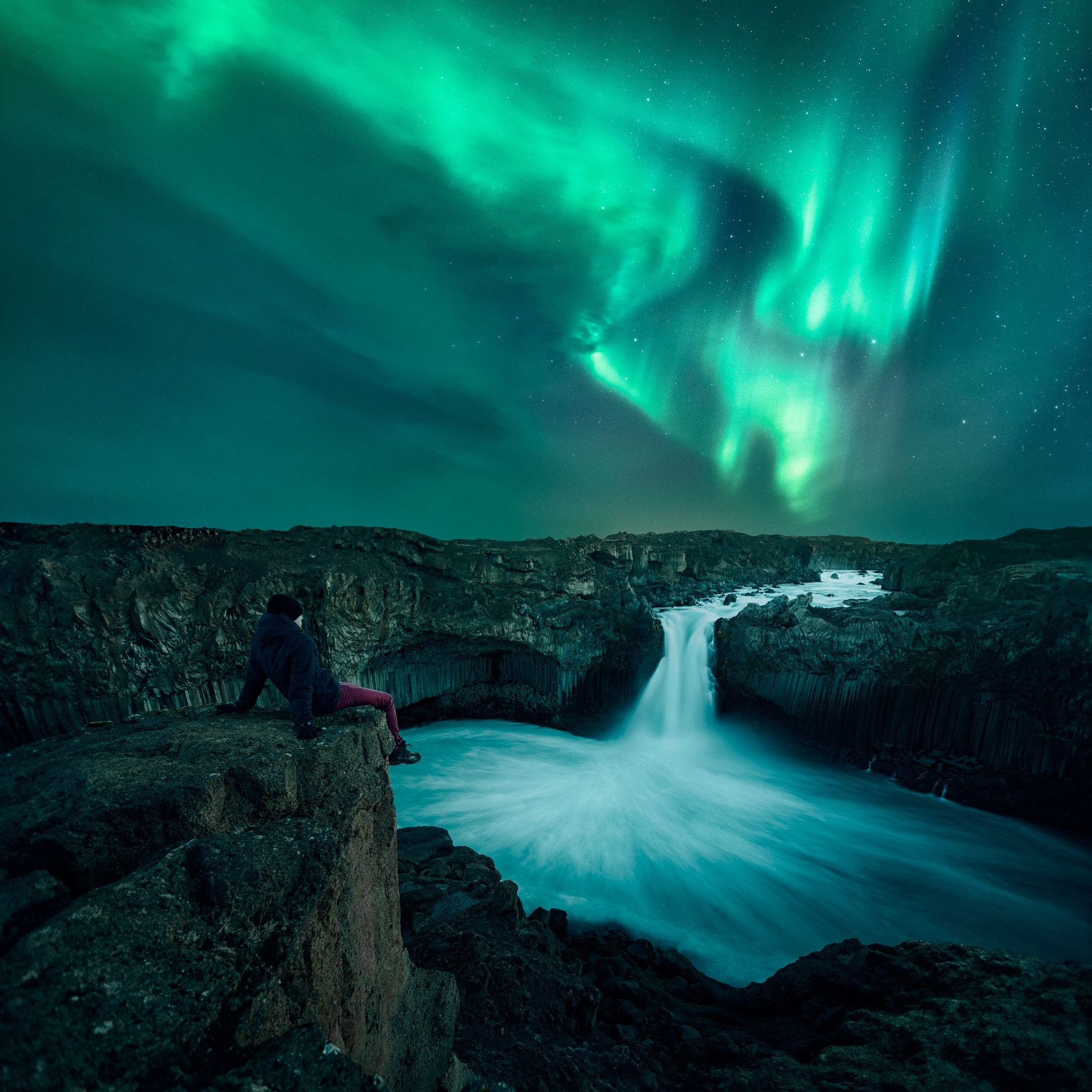 Aldeyjarfoss aurora the beautiful auroras above aldeyjarfoss in aldeyjarfoss aurora the beautiful auroras above aldeyjarfoss in northern iceland its another composite picture publicscrutiny Image collections