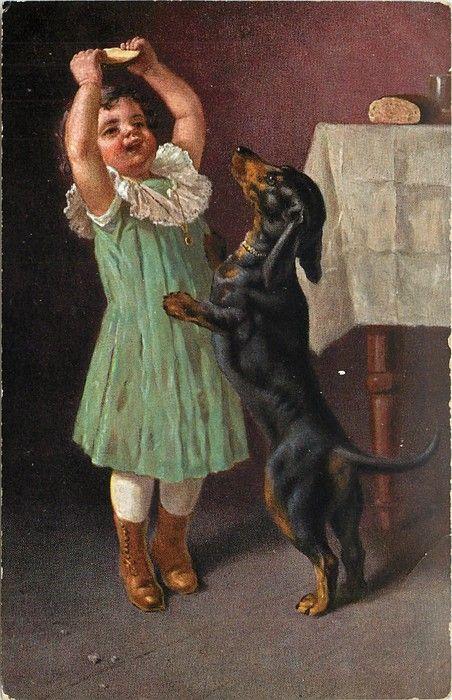 German NEW MATTED Dog Art Print Dachshund Girl L