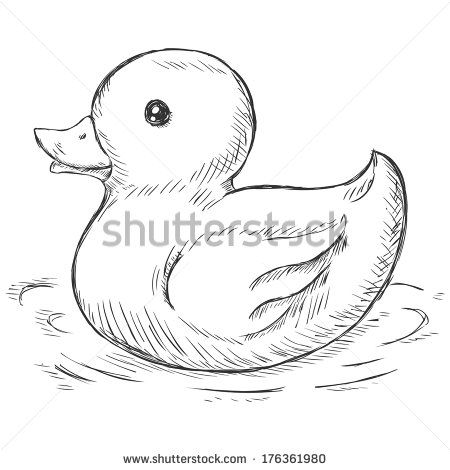 vector sketch illustration - rubber duck for bath | For ...