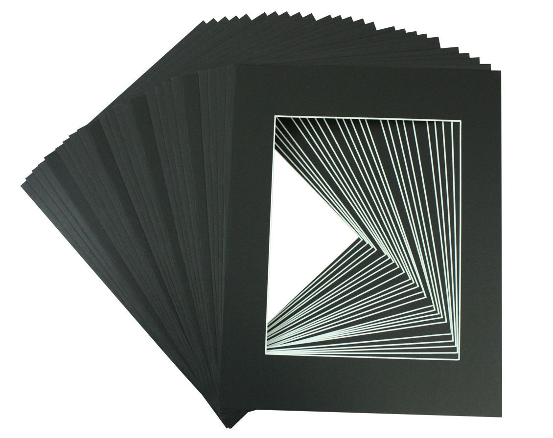 Framing And Matting 37573 Set Of 25 5x7 Black Precut Mat With White