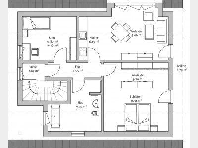 Grundriss dachgeschoss haus pinterest dachgeschosse for Zweifamilienhaus modern grundriss