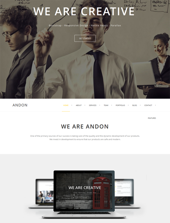 This one page WordPress theme offers a responsive layout