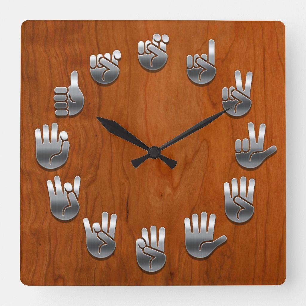 Sign Language Woodgrain Square Wall Clock Zazzle Com Sign Language Sign Language Art Clock