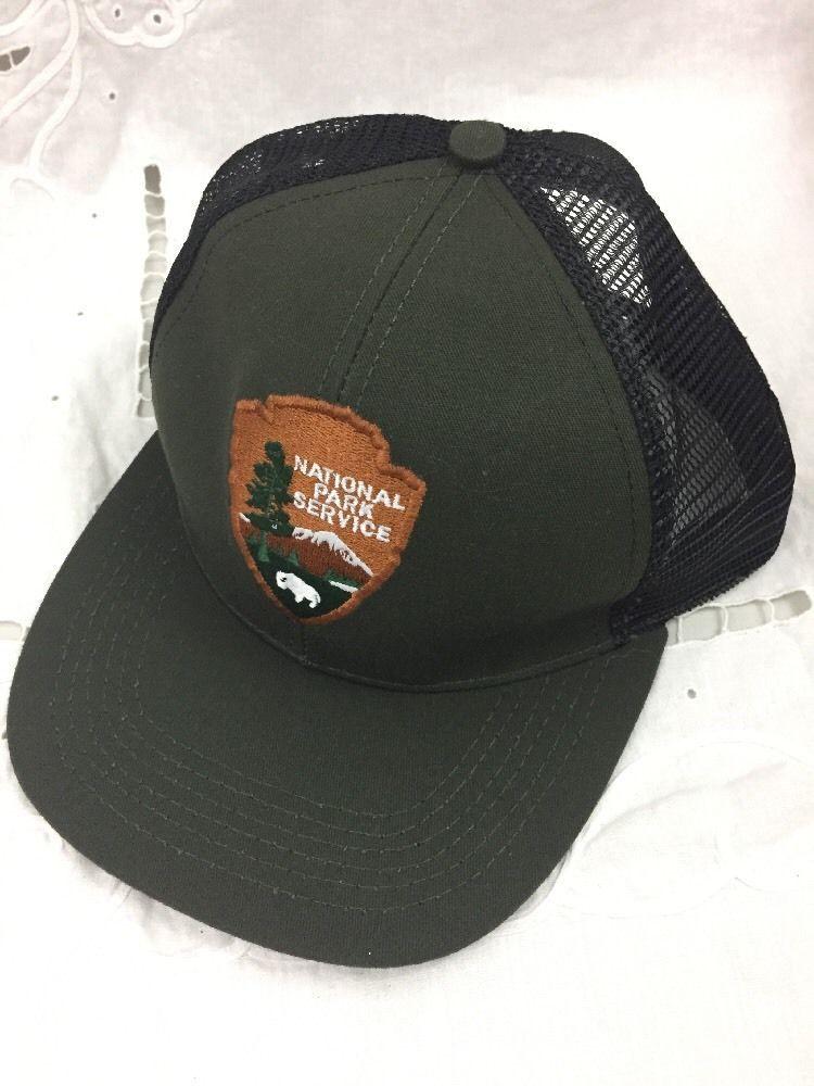 de2c8449292 NEW National Park Service NPS Green Summer Mesh Snap Back Hat Ball ...