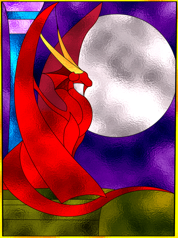 Dragon stain glass by Harames01