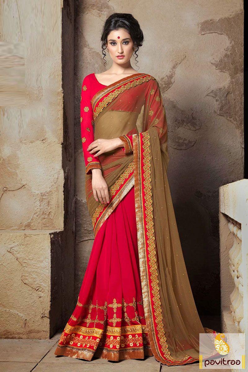 Pavitraa The Maroon Carmel Net Georgette Embroidered Saree #partywearsarees #designersaree #onlinesarees #indiansarees