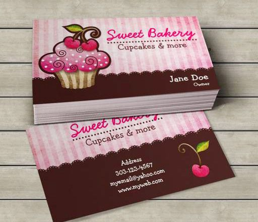 Cherry Berry Cupcake Business Cards This Great Business Card - Cupcake business card template