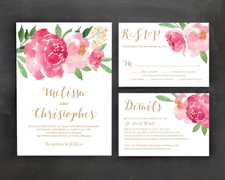 Printable Wedding Invitation Template Set Fl Watercolor Flower Blush