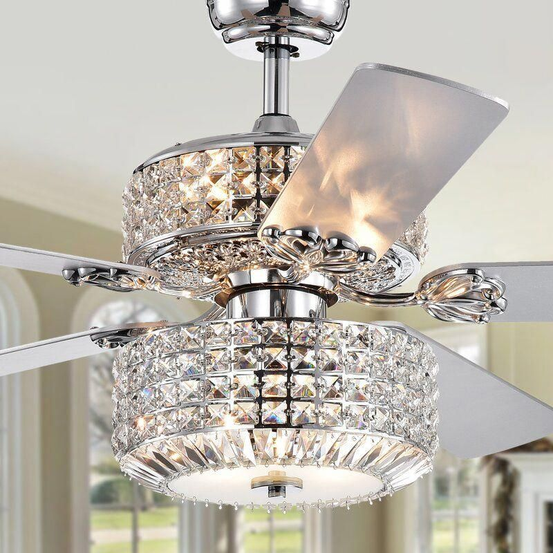 52 Pitchford 5 Blade Crystal Ceiling Fan With Remote Control And Light Kit Included Ceiling Fan Chandelier Ceiling Lights Chrome Ceiling Fan
