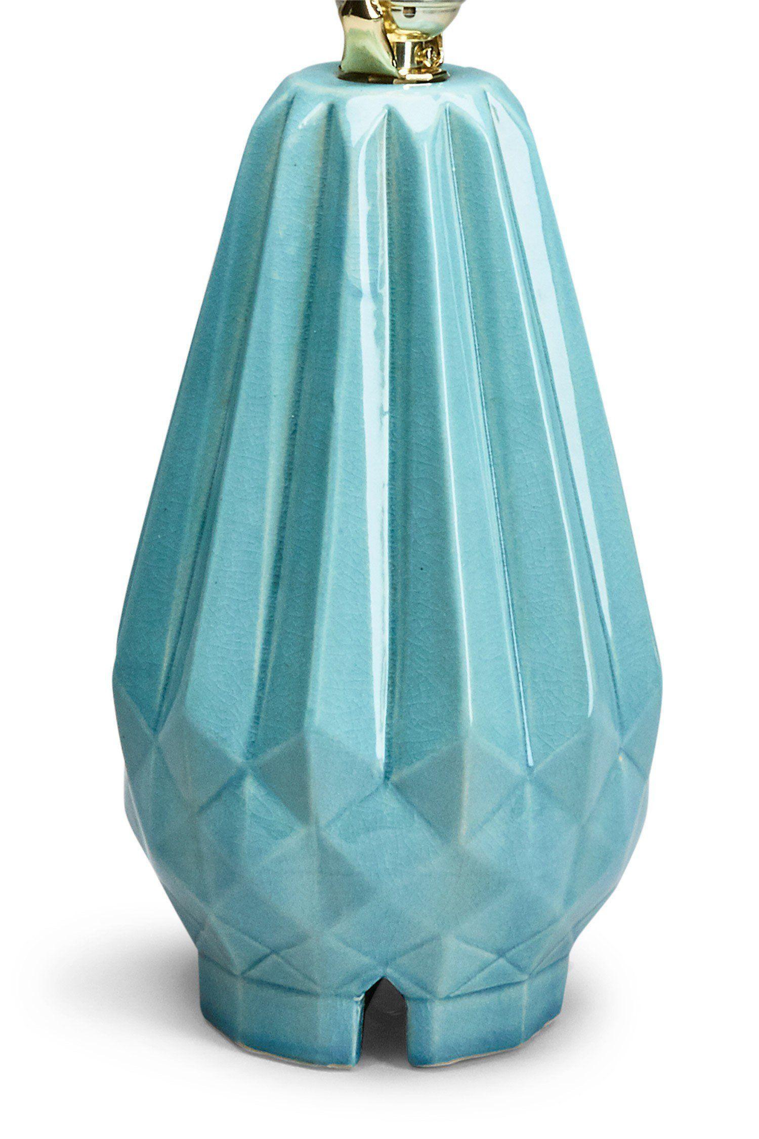 Faceted Aqua Ceramic Lamp Base