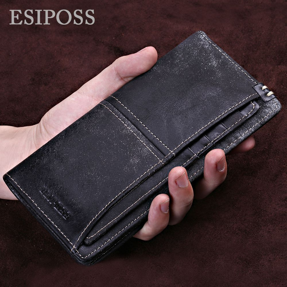 Men Women Genuine Leather Long Bifold Wallet Money Card Holder Clutch Purse New