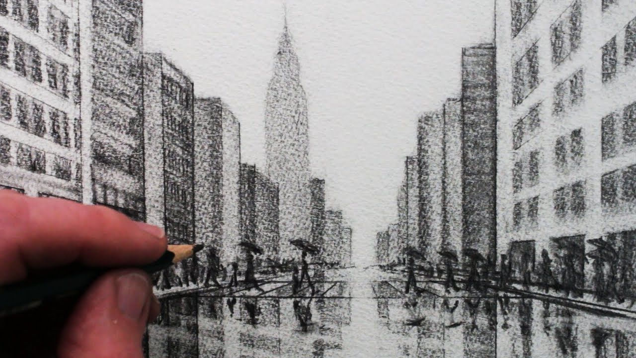 Dessin Ville 3d How To Draw A City Tonal Pencil Drawing Youtube Art Pinterest