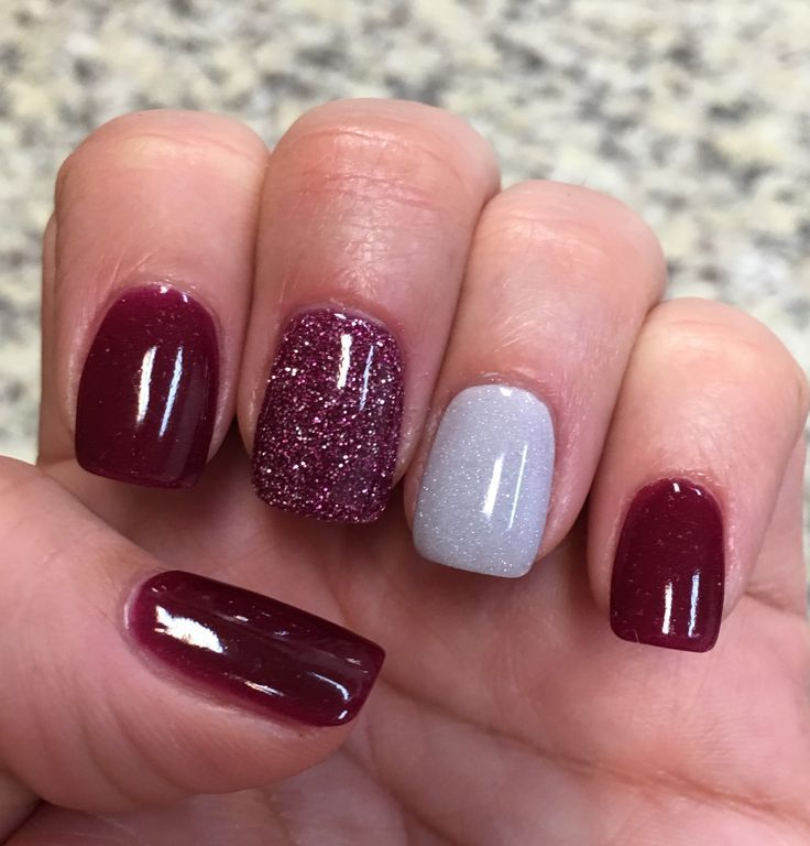 26 Red And Silver Glitter Nail Art Designs Ideas: Cranberry Glitter & Silver NexGen Nails Nail Design, Nail