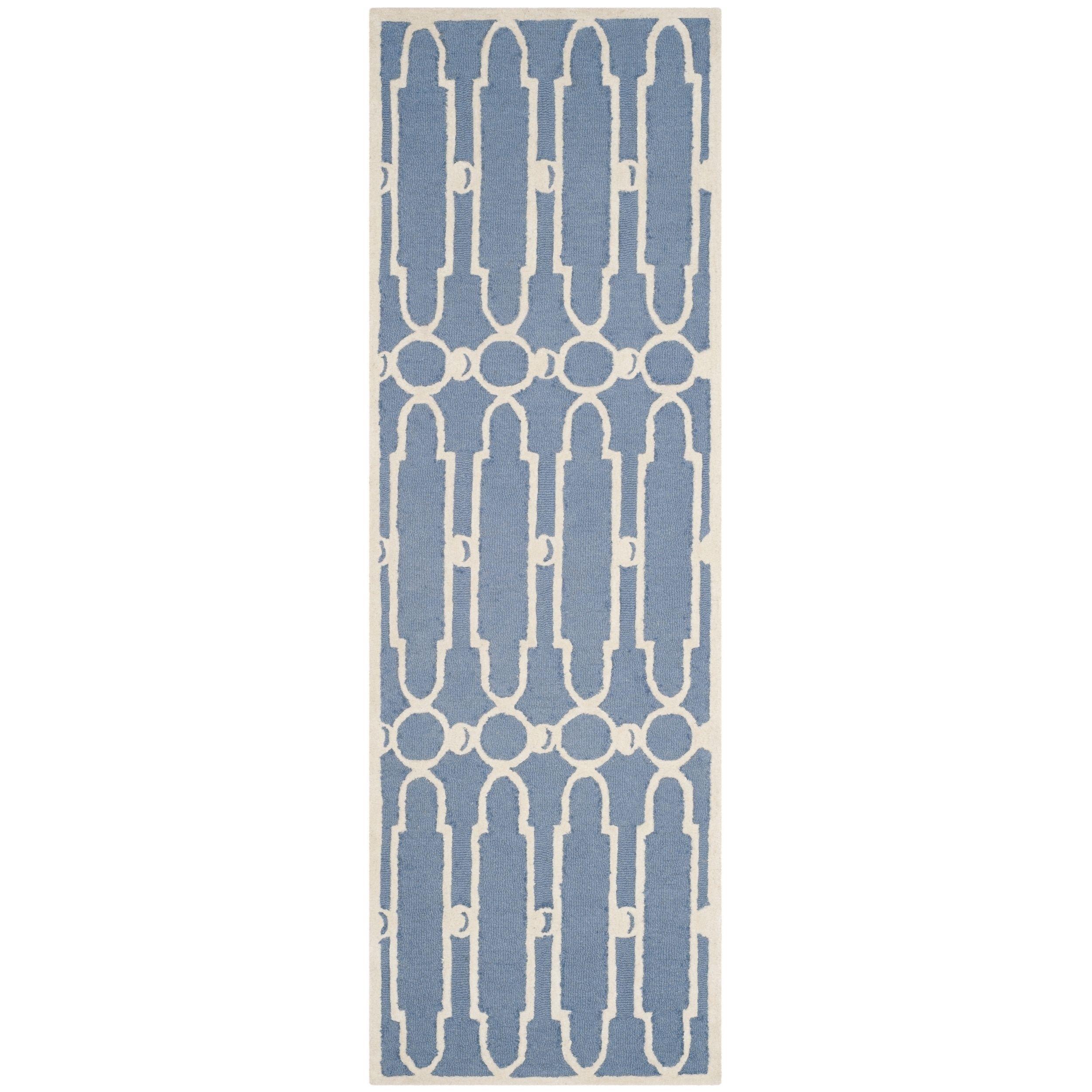 Safavieh Hand-Woven Bella Blue/ Ivory Wool Runner (2' 3 x 7') (BEL137A-27), Size 2' x 7'