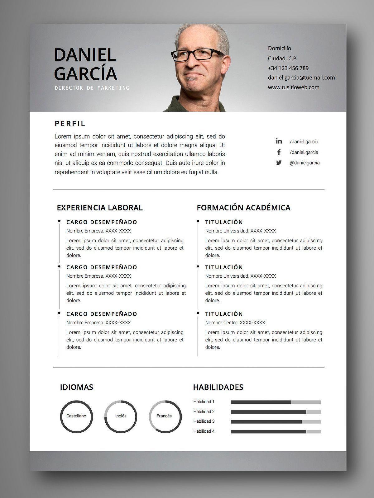 Descarga Plantillas Editables De Curriculum Vitae Cv Visuales Y Profesionales Facil Edicion En Word Y Pages Servicios Optimizacion De Cv Cv Web Desain
