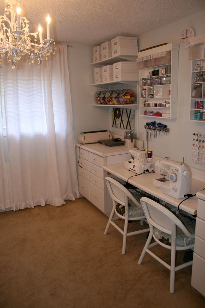 Remodelaholic Craft Haven Guest Craft Room Before And After Craft Room Design Sewing Room Design Sewing Room Ideas Spaces Sewingcraft room before and during