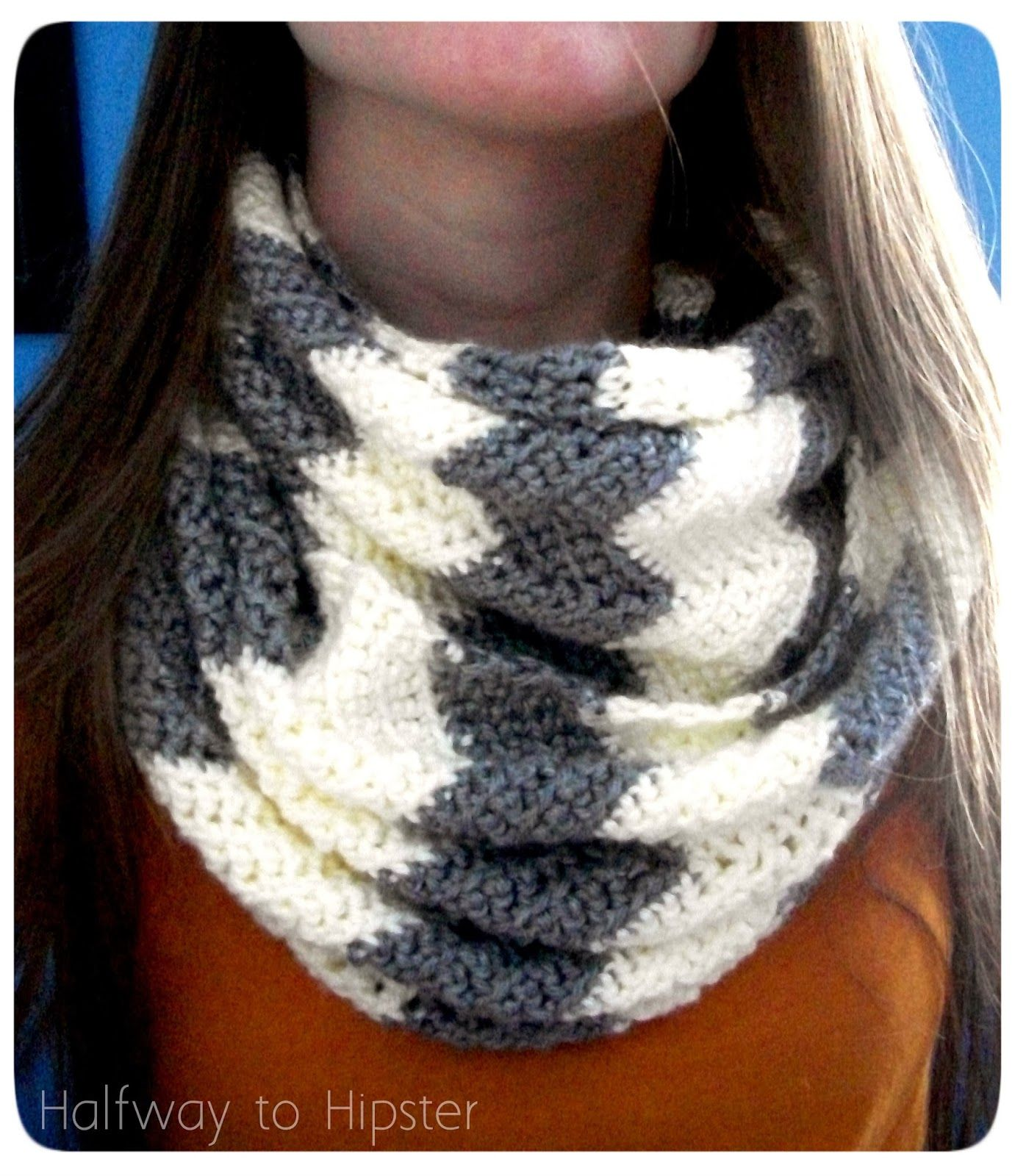 Halfway to hipster free chevron scarf pattern knit crochet explore infinity scarf patterns and more bankloansurffo Choice Image