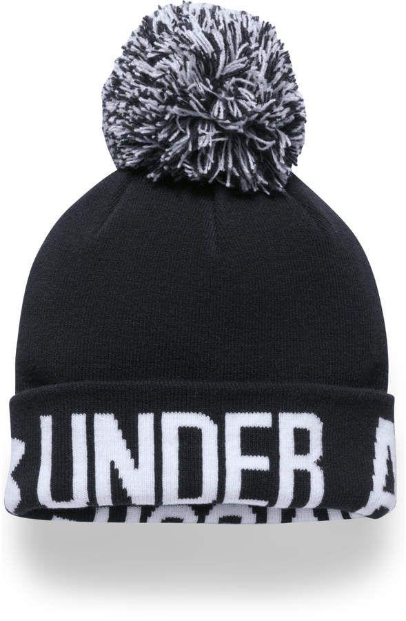 Grey Under Armour Pom Graphic Womens Beanie Hat
