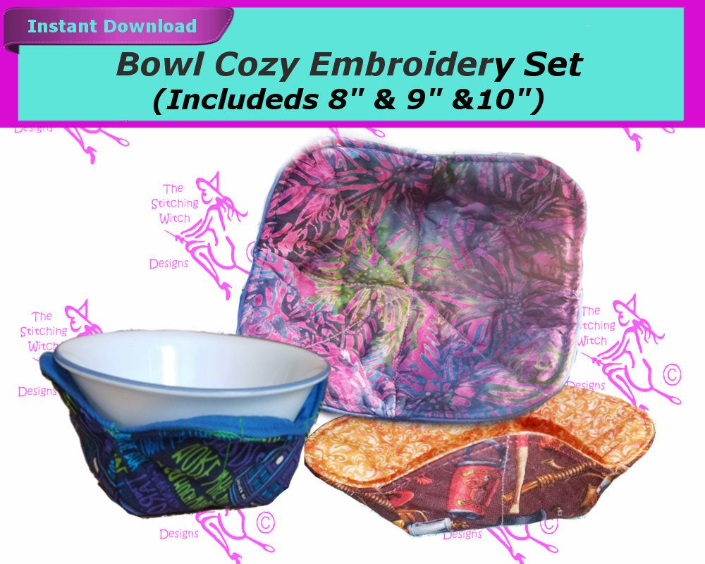 3 Bowl Cozy Embroidery Pattern Set- 8 and 9 and 10 Included- Quilted IN THE HOOP