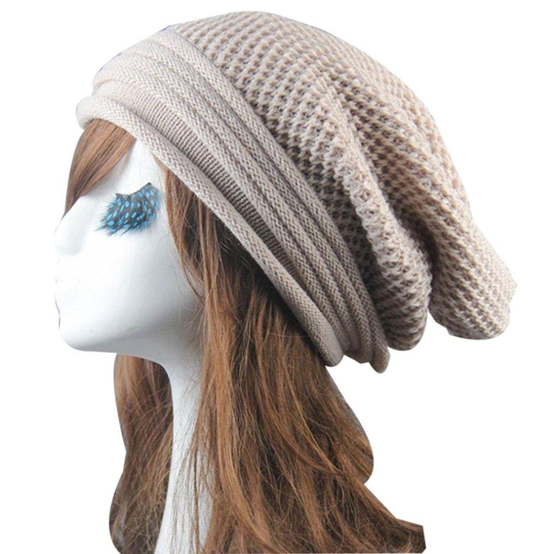 63786d69122cf Knit Winter Warm Women Men Hip-Hop Beanie Hat Baggy Unisex Ski Cap Skull -  Beige - C212O4PMJ3G - Hats   Caps