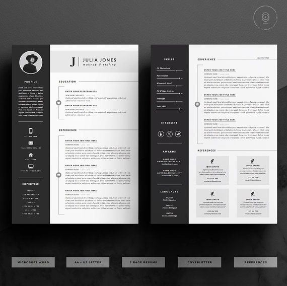 Professional Resume Template & Cover Letter Icon Set for | Resume ...