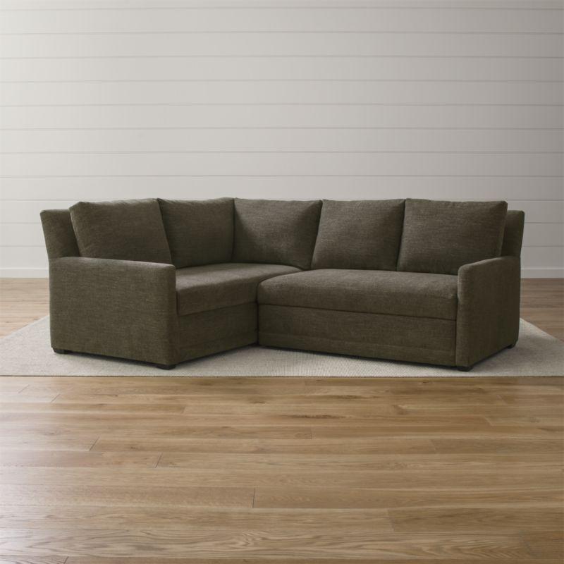 Reston 2 Piece Left Arm Corner Trundle Sleeper Sectional Sofa With Images Sectional Sleeper Sofa Sectional Sofa Small Sectional Sofa