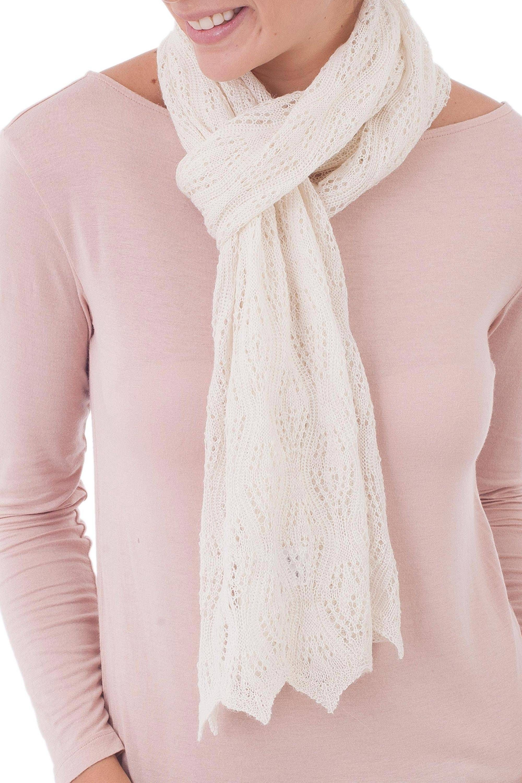 Knit 100 Baby Alpaca Wrap Scarf In Ivory From Peru Style And Harmony In Ivory Alpaca Scarf Scarf Styles Leggings Fashion