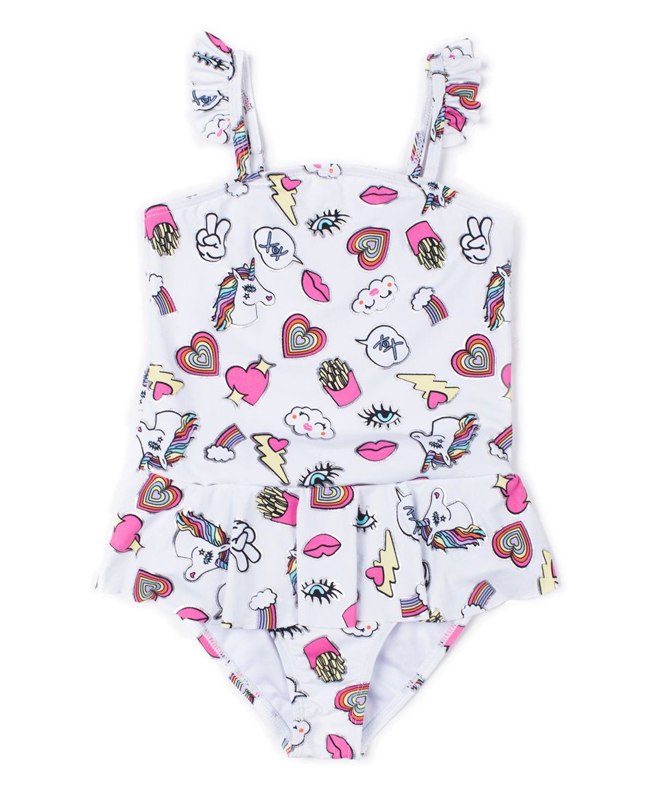 bc65874fb9186 Take a look at this Betsey Johnson Kids White Unicorn Skirted One-Piece -  Toddler today!