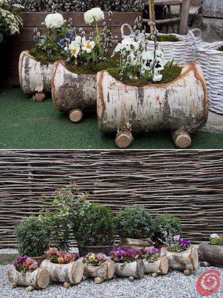 patio//garden//yard//window box Rustic wood Log Planter Chainsaw Carved with bark