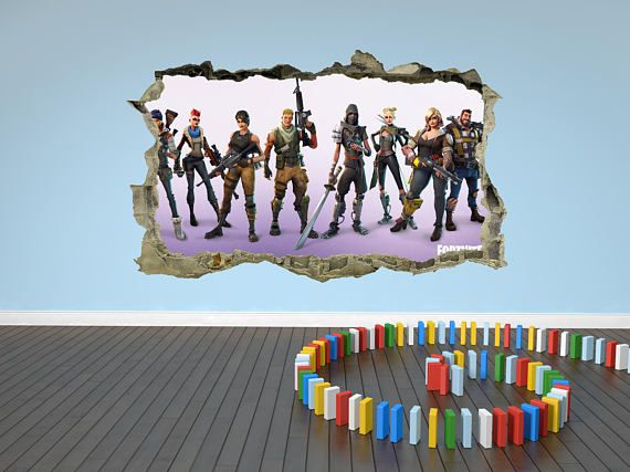 Fortnite Wall Sticker D Breakout Smashed Decal Cracked Wall Art Mural