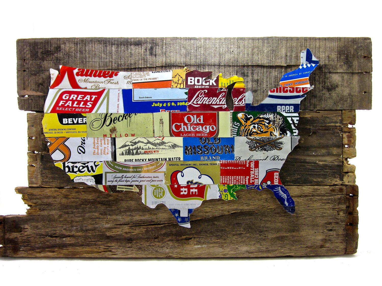 united states map collage made from vintage upcycled us beer cans via etsy and what does this say about us