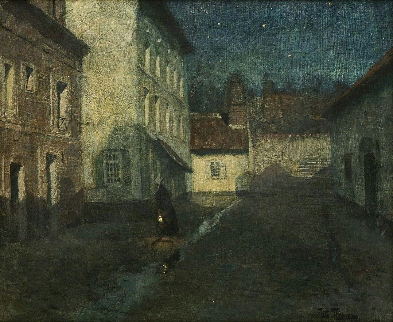 Natt i Dieppe Frits Thaulow Norwegian Impressionist Painter