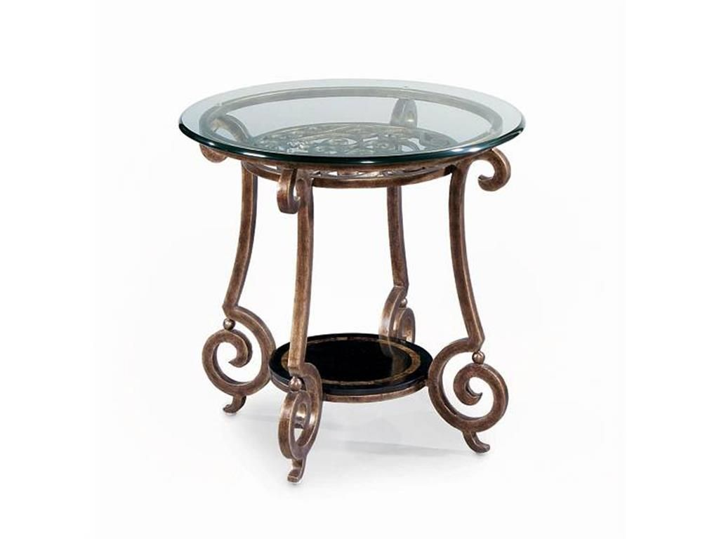 Round glass table top view scrolled metal base in gold mottled finish black stone shelf has a
