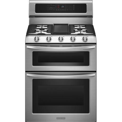 """KitchenAid - 30"""" Self-Cleaning Freestanding Double Oven ..."""