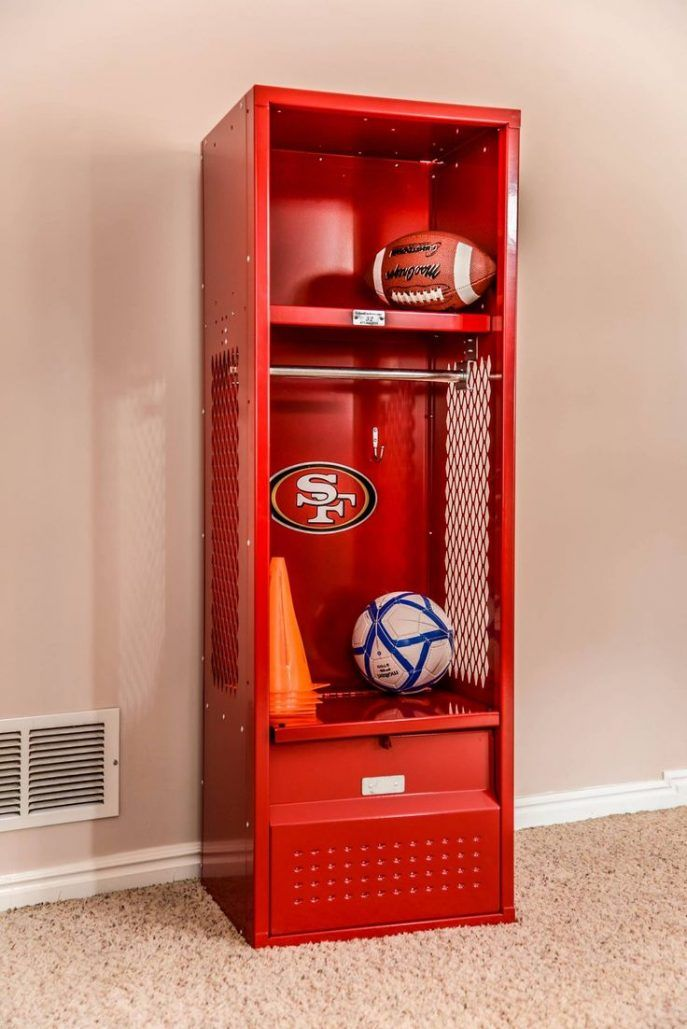 Paint Closet Doors Different Colors To Make Them Look Like Lockers - Sports locker for kids room