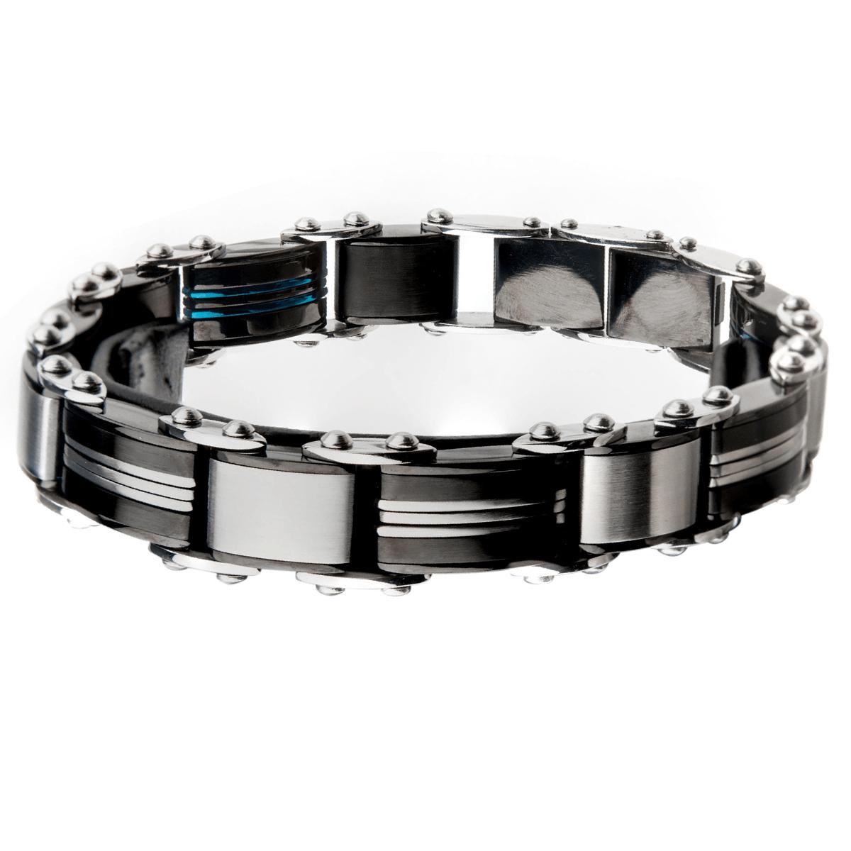 Blue Stripe Carbon Fiber Black Stainless Steel Modern Mens Bracelet In 2020 Black Steel Bracelet Stainless Steel Bracelet Men Link Bracelets