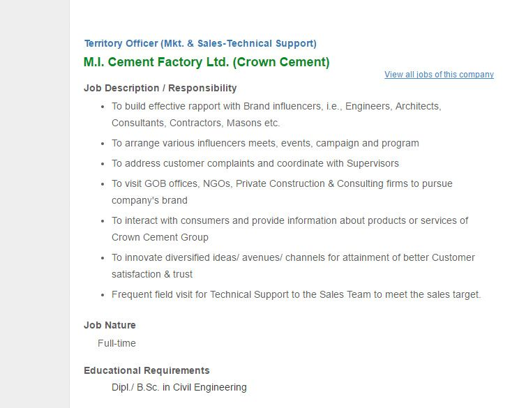 MI Cement Factory Ltd Crown Cement Territory Officer Mkt