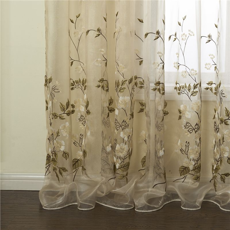 One Panel Country Embroidered Beige Floral Pattern Polyester