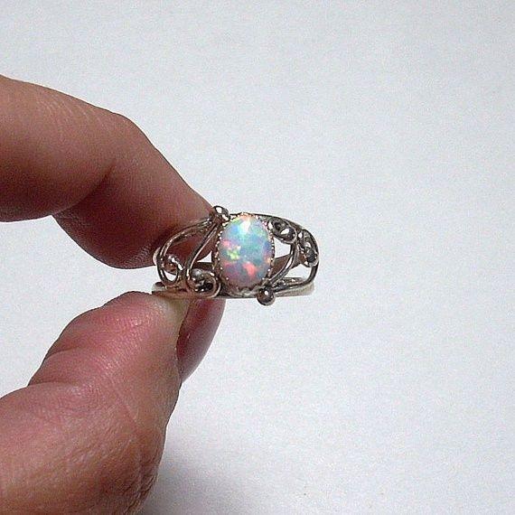 Vintage Navajo Handcrafted Opal Sterling Silver Ring 5850  Jewelry  Schmuckstck Schmuck Ringe